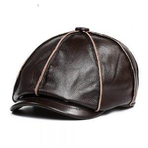 Genuine Leather Newsboy Cap